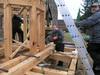 März Montage des Achteckschaftes und des Dachanschlusses auf dem Kirchhof in Werbig (Bild: 6/15)